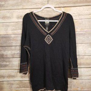 Lucky Brand Boho Bell Sleeve V Neck Tunic Top
